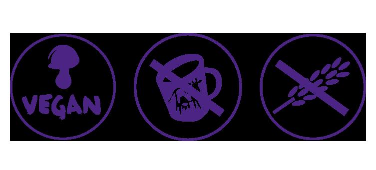 iconos apto para veganos, intolerantes a la lactosa y celiacos